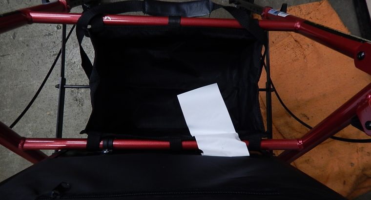 Drive medical rollator walker with seat and storage pouch.