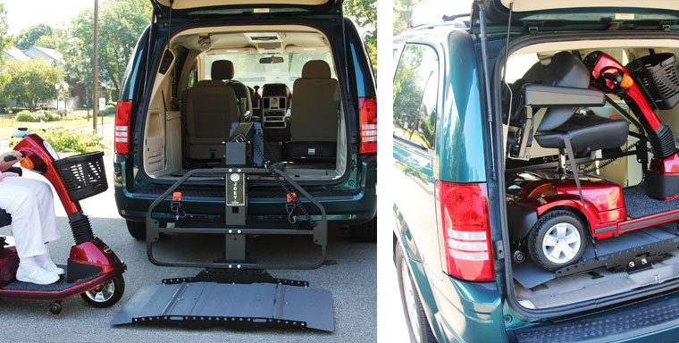 Pride Victort 9 mobility scooter & Joey Bruno Vehicle Lift